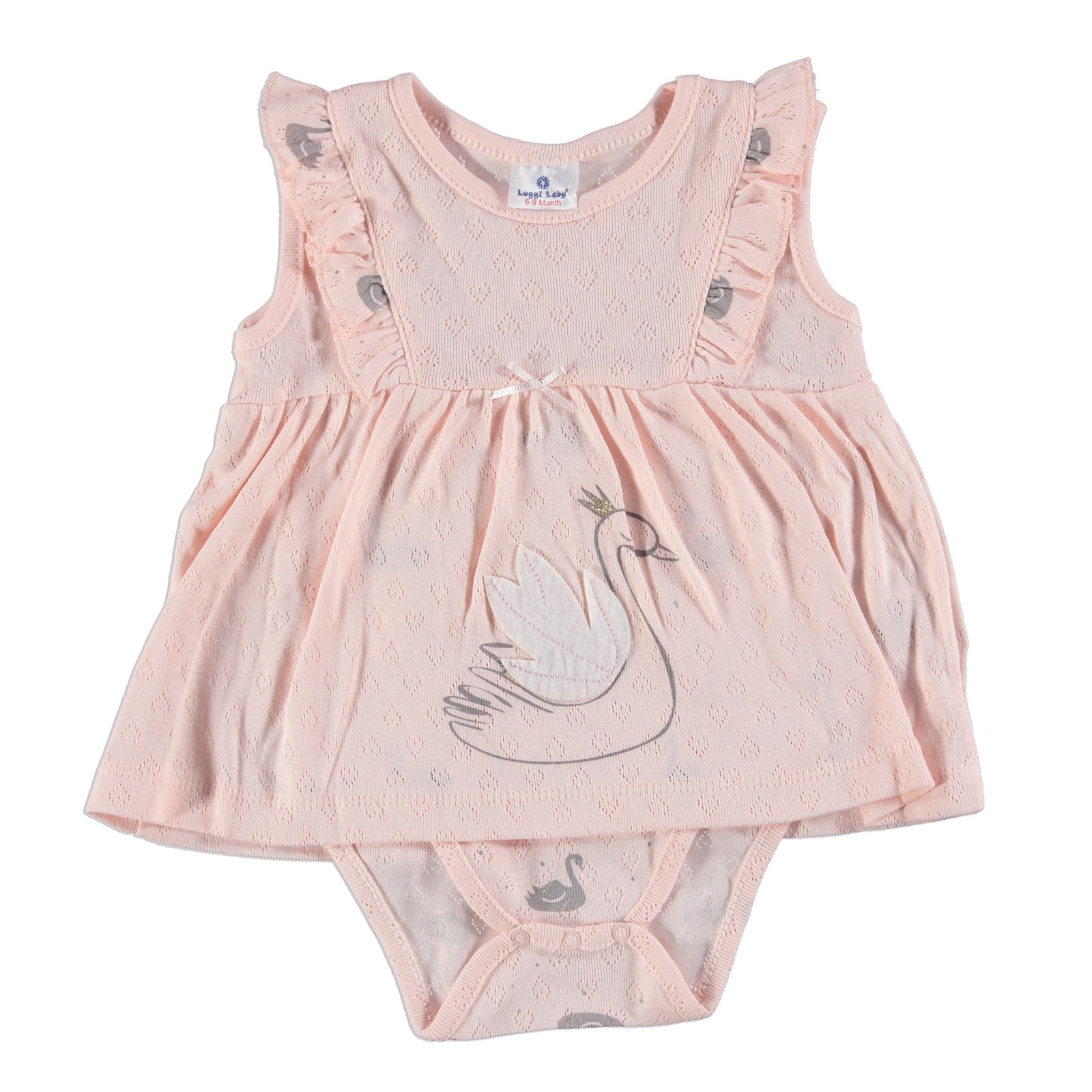 Ebebek Luggi Swan Baby Girl Ruffle Detail Sleeveless Dress Bodysuit