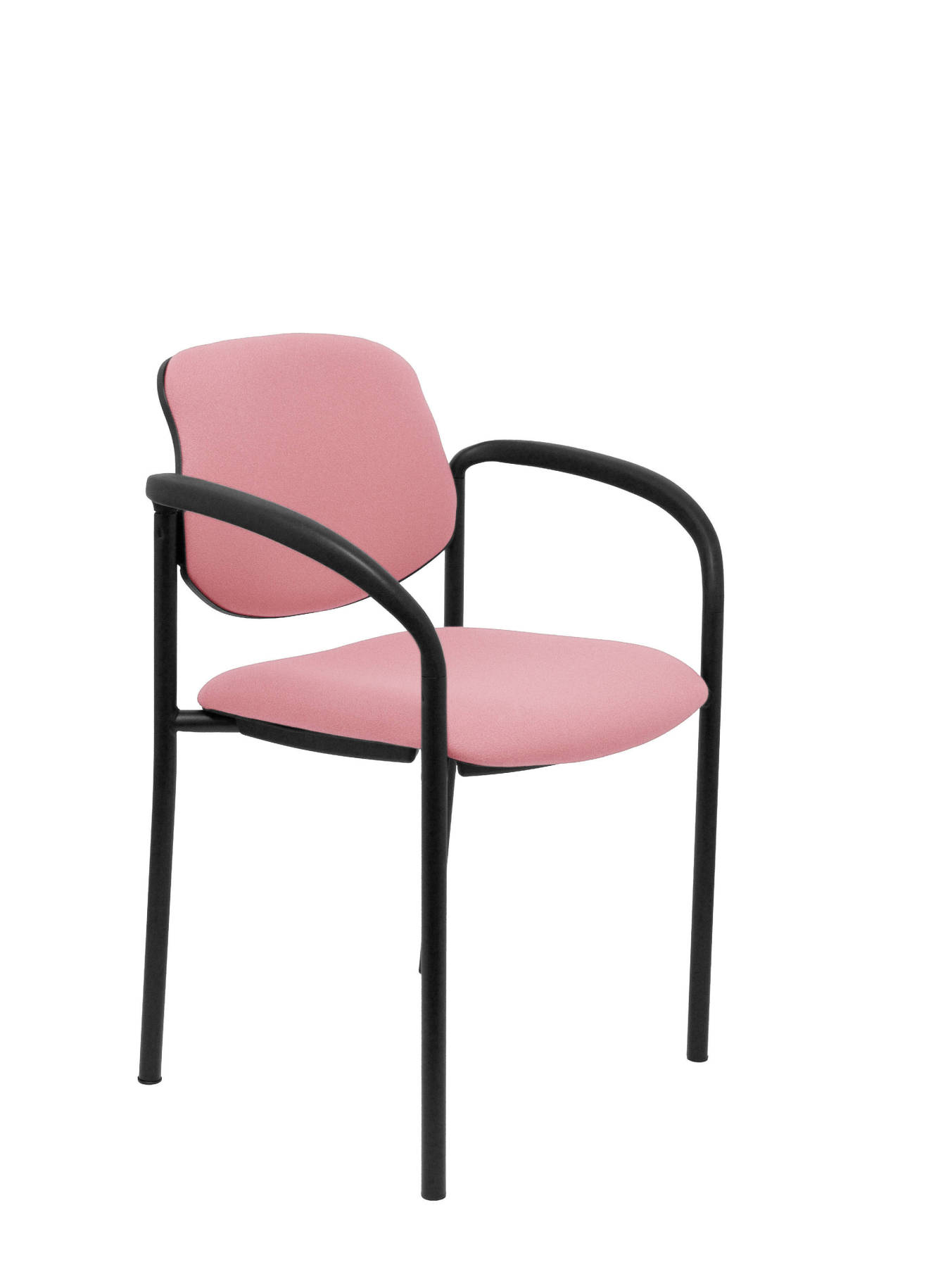 Visitor Chair 4's Topsy, With Arms And Estructrua Negro-up Seat And Backstop Upholstered In BALI Tissue Pink Colour PIQU
