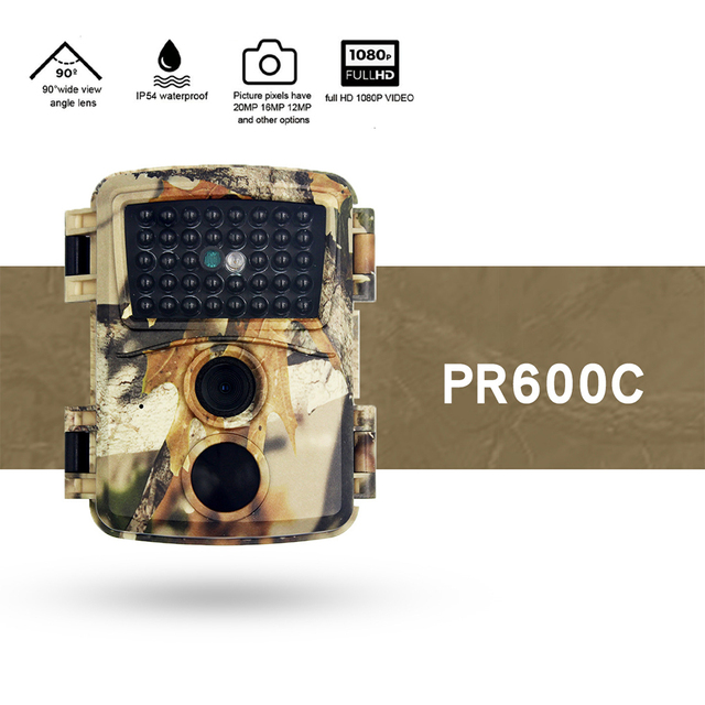 PR600 Mini Trail Camera 12MP HD Game Camera Waterproof Wildlife Scouting Hunting Cam Wildlife Scouting Hunting Cam with 60°