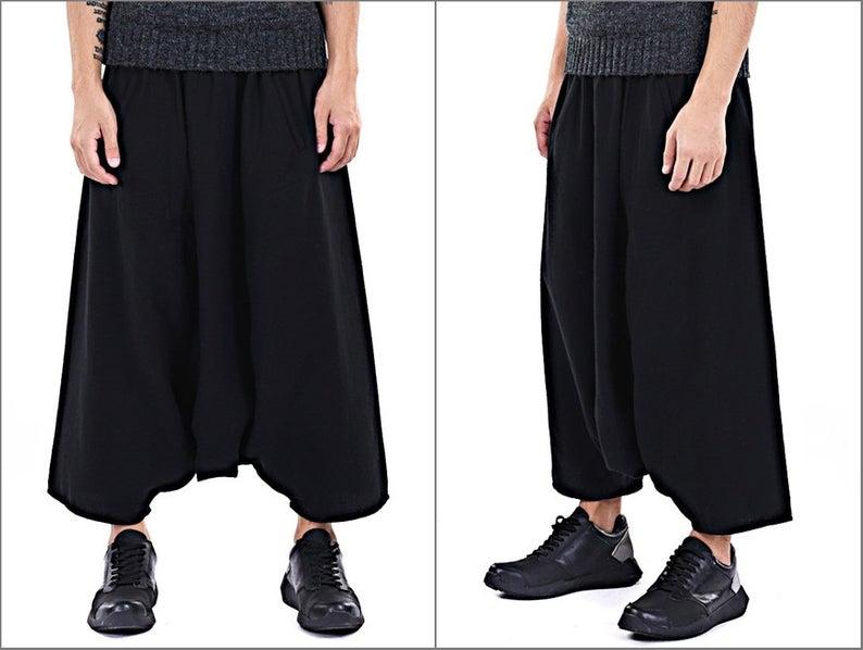 High Tech Dropped Crotch Sarrouel Japanese Wide Leg Stretch Cotton Trouser Short / Yoga Pant / Unisex Sarouel Harem Pant