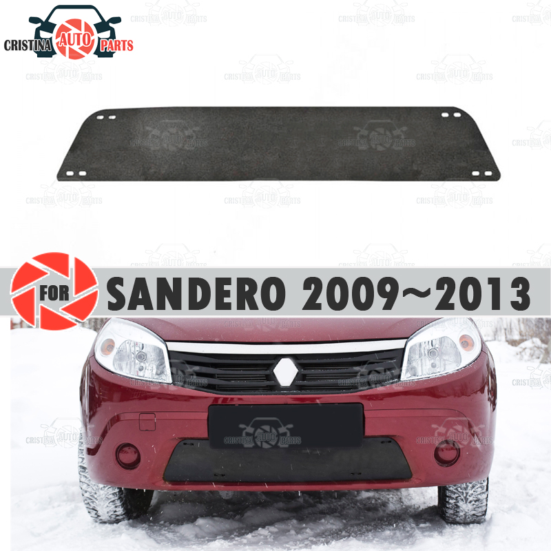 الشتاء غطاء المبرد لرينو سانديرو 2009 ~ 2013 البلاستيك ABS تنقش غطاء سيارة ألعاب كهربائية التصميم اكسسوارات الديكور
