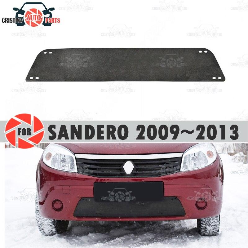 Kış için radyatör kapağı Renault Sandero 2009 ~ 2013 plastik ABS kabartmalı kapak tampon araba styling aksesuarları dekorasyon