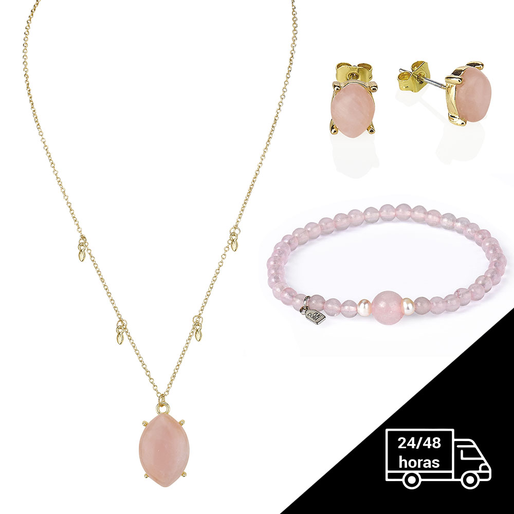 Chain Bracelet, Necklace And Earring Cuarcito's Rose - Jewelry Pack