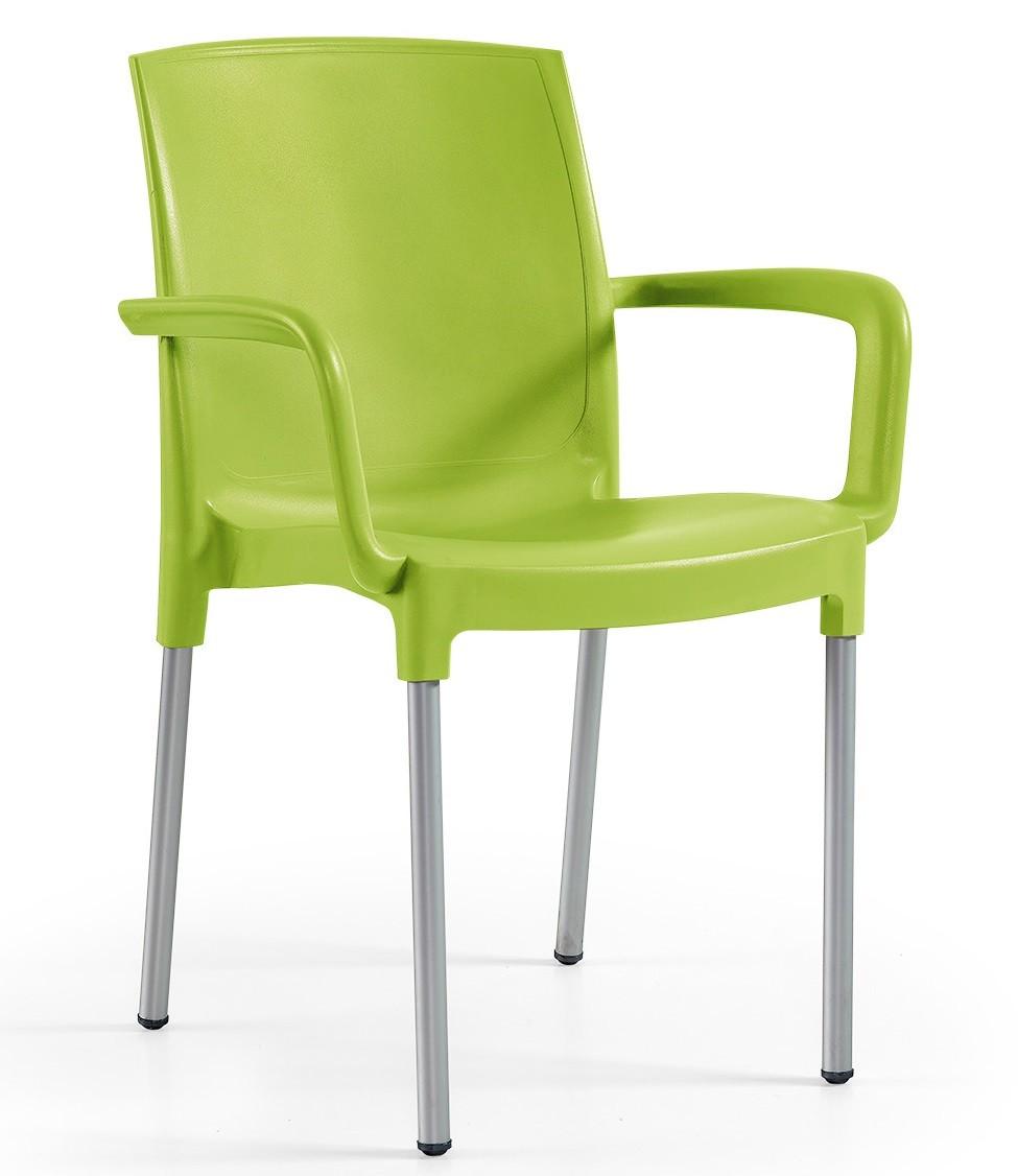 Armchair CLARIN, Aluminum, Polypropylene Lime Green