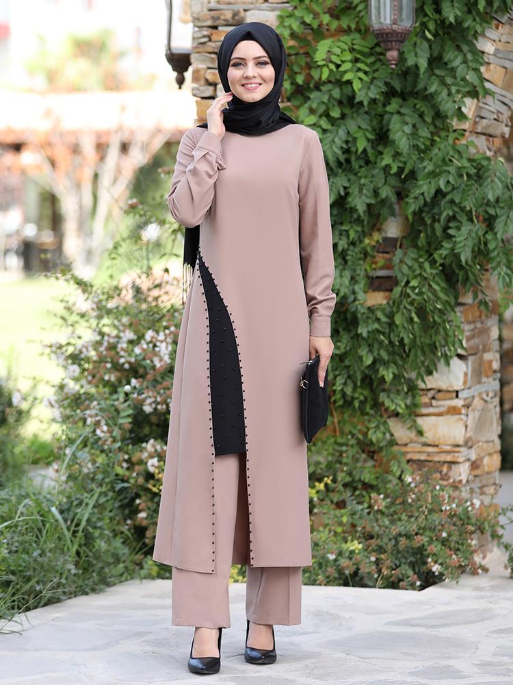 Tunic Trousers Women Combination Muslim Hijab Suit New Season Pearl Detailed Crepe Quality Fabric Elastic Waist Trousers Turkey