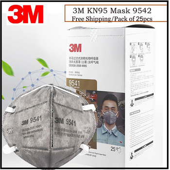 25pcs/Lot 3M KN95 Mask 9541 Dust Activated Carbon Respirator Disposable Particulate Masks Individual Pack Authentic
