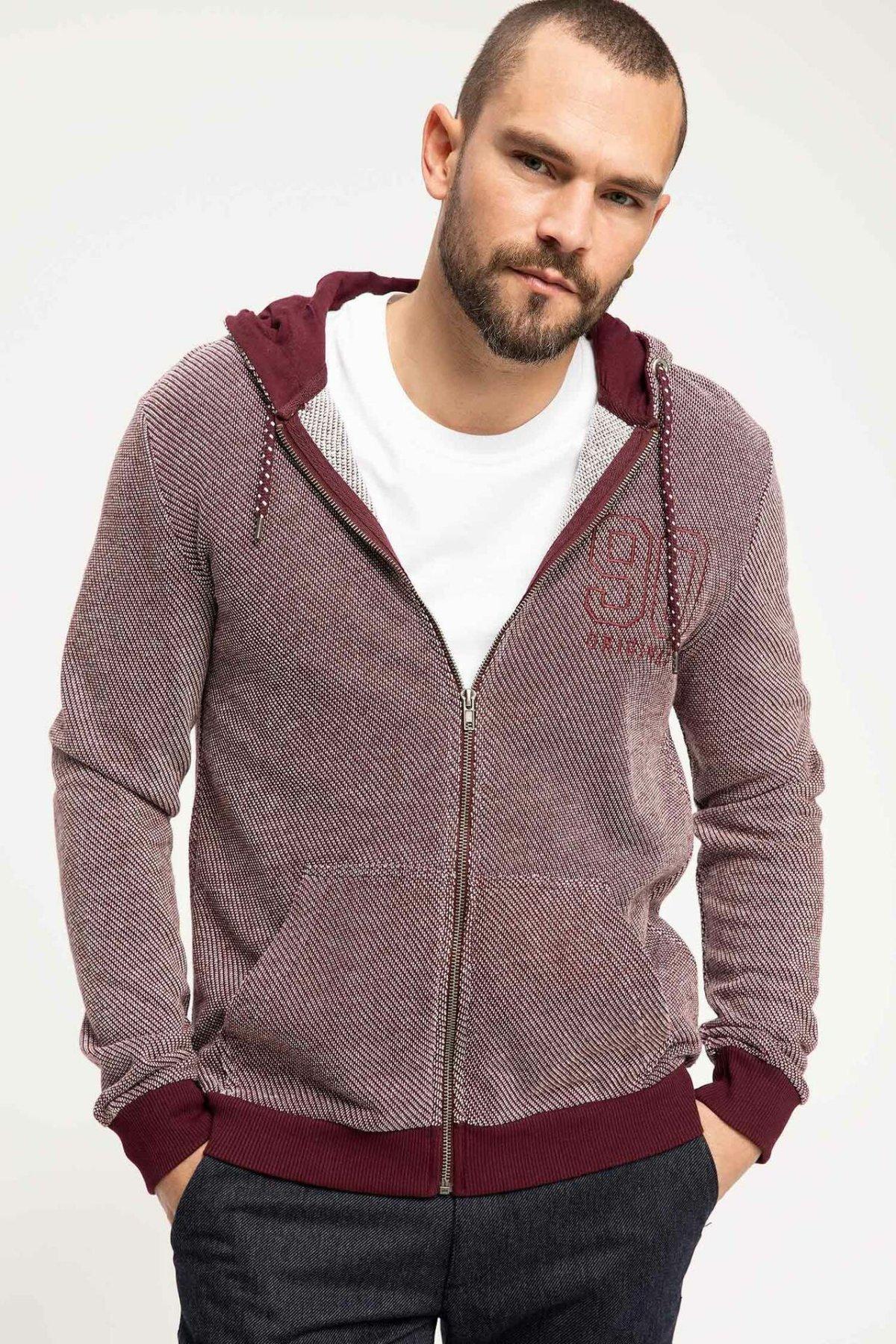 DeFacto Fashion Man Cardigan Hooded Coats Autumn Male Casual High Quality Jackets Men's Cotton Coats New-J3767AZ18WN