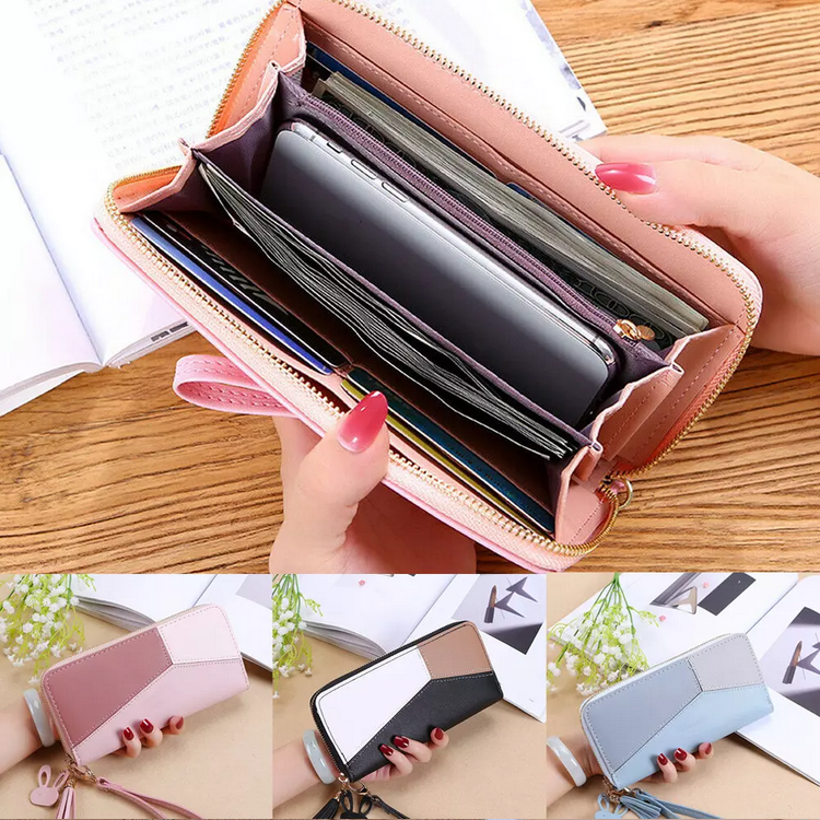 Women Long Zipper Leather Wallet Large Patchwork Wristband Clutch Handbag Card Holder Phone Bag Purse