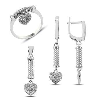 Silver 925 Sterling Zircon Cubic Zirconia Dangle Heart Set