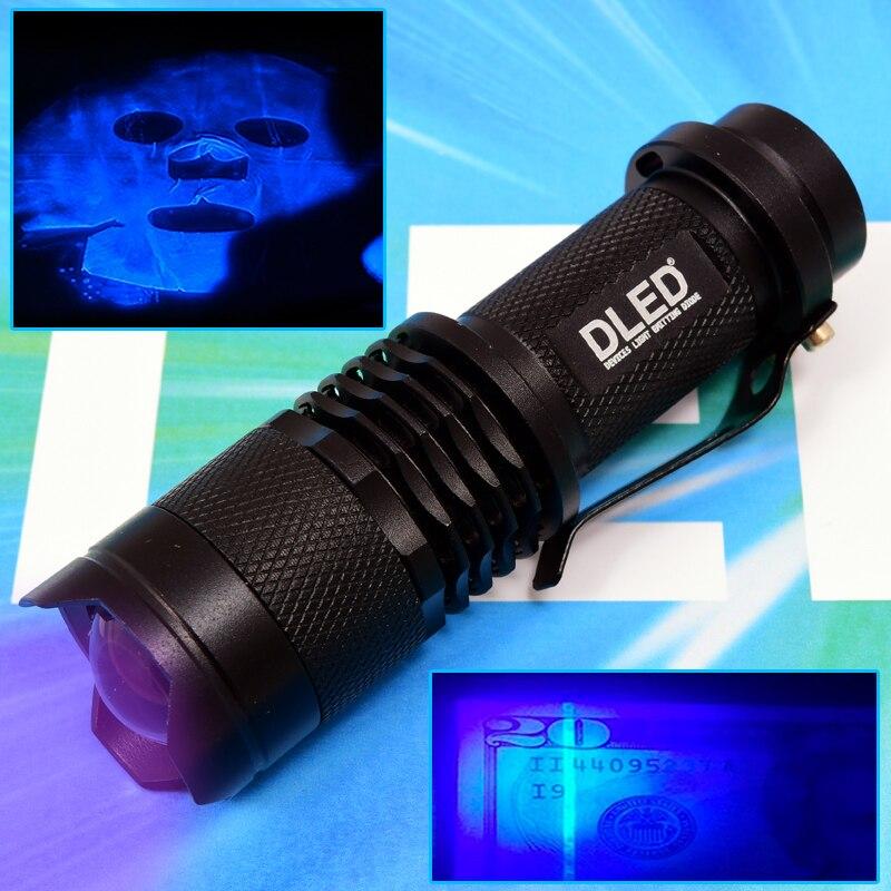 UV Ultraviolet LED Flashlight DLED Mini Black 395nm