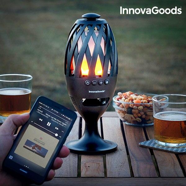 InnovaGoods LED alev lambası ve bluetooth hoparlör title=