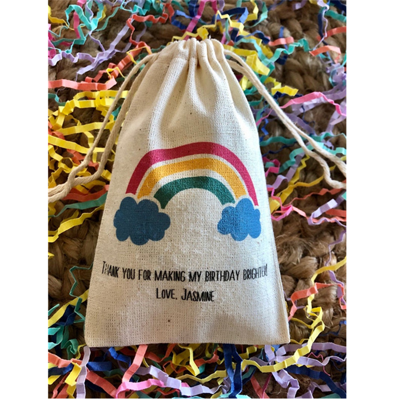 Sunshine, Rainbow And Clouds Weather Baby Shower Bags Custom Birthday Gift Bag Welcome Treat Bags Muslin Candy Bags Baptism Bag