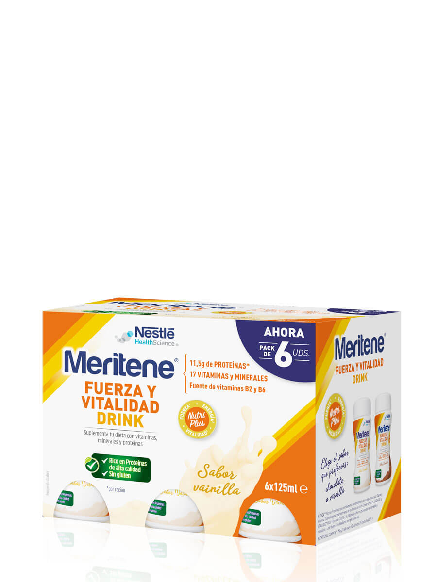 Meritene strength and vitality drink vanilla 6x125ml supplement your diet with vitamins and minerals