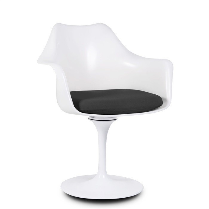 Armchair TULLE NEW, White, Cushion Similpiel Black