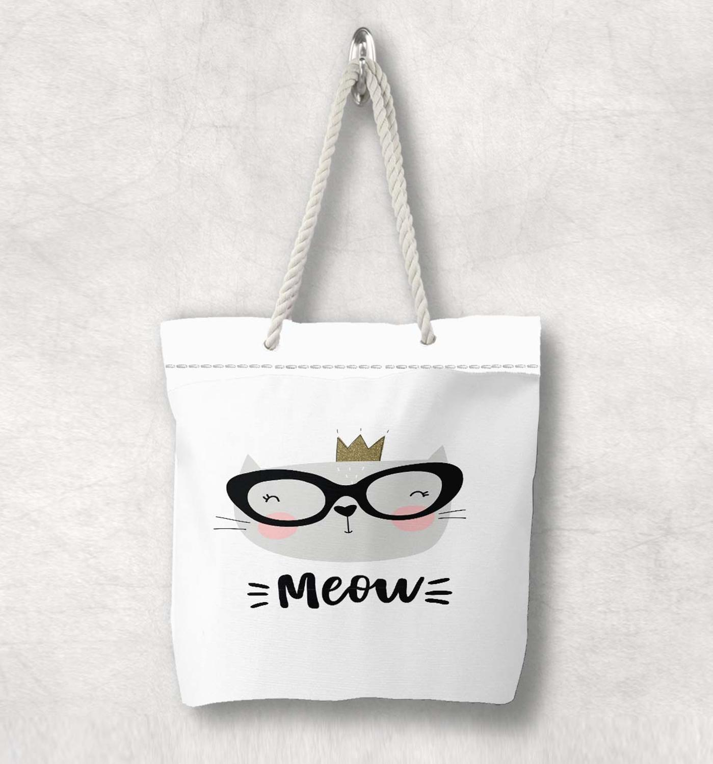 Else Gray White Cute Cats Glasses Nordic Scandinavian White Rope Handle Canvas Bag  Cartoon Print Zippered Tote Bag Shoulder Bag