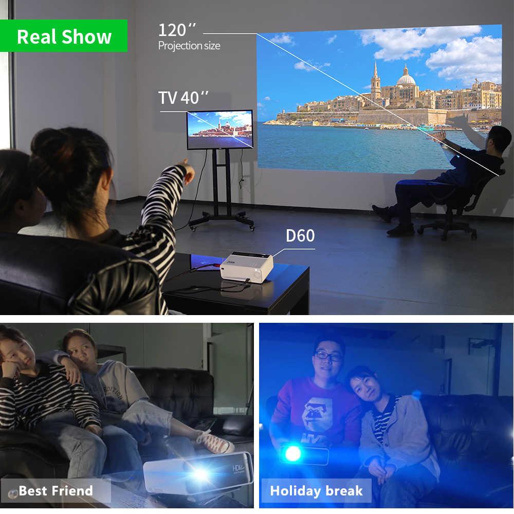 AUN HD Mini projektör D60/S 1280x720P,LED Android WiFi projektör Video ev sineması 3D, Full HD projektör sinema için