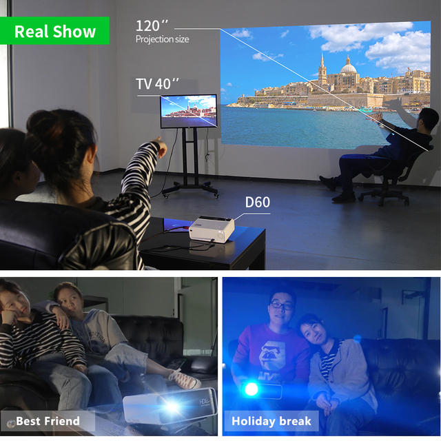 Aun hd projector d60   1280×720 resolution mini led video 3d projector for full hd home cinema.hdmi (optional android wifi d60s)