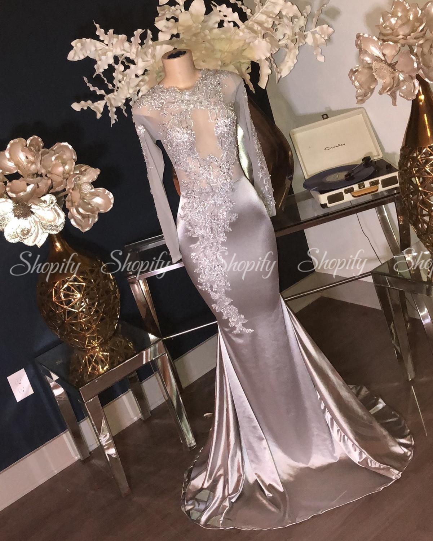 Long Elegant Prom Dresses 2020 Sheer Long Sleeve Lace Mermaid African Black Girl Floor Length Silver Prom Dress