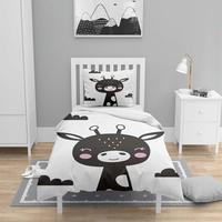 Else 4 sztuk szary czarny biały żyrafa Scandinav 3D drukuj bawełna Satin Chidren dzieci poszewka na kołdrę zestaw poszewka na poduszkę prześcieradło w Kołdra od Dom i ogród na