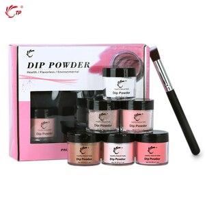 Image 4 - TP 6 Pot 28g Nail Dipping Powder + Brush Kit No Lamp Cure 1oz Acrylic System Dip Powder Decoration
