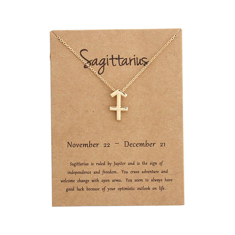 EPI 12 konstelacja wisiorek złoty naszyjnik biżuteria choker znak zodiaku niestandardowy naszyjnik urodziny prezenty kartka z wiadomością dla kobiet dziewczyna