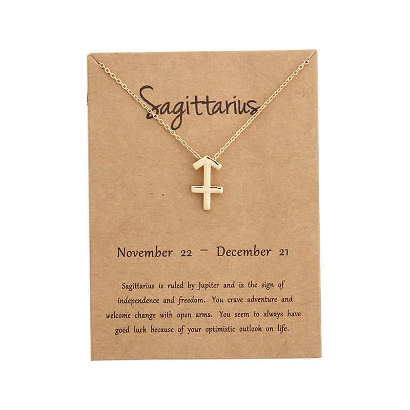 EPI 12 קונסטליישן תליון זהב שרשרת קולר תכשיטי מזלות אישית שרשרת יום הולדת מתנות הודעה כרטיס לנשים ילדה