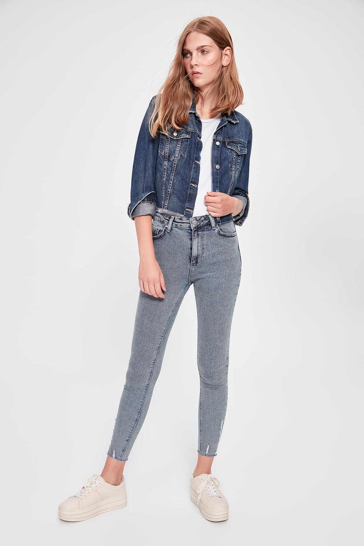 Trendyol Blue Yıpratmalı High Waist Skinny Jeans TWOAW20JE0158
