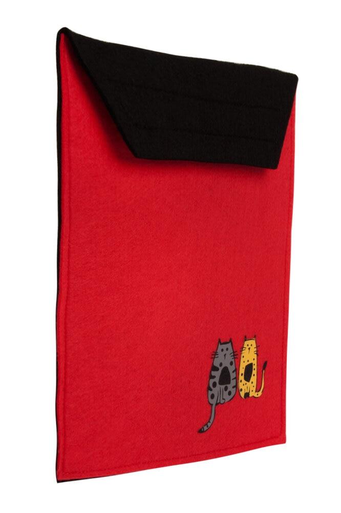 Cats Biggdesign Portfolio Bag, Felt Fabric, Felt Bag, Handbag, Cute Cat Pattern, 27.5 Cm, Red Color, Off Band Mouth