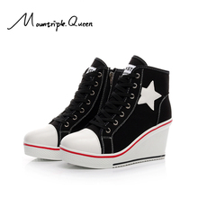 2019 New Star Shape Women Shoes Canvas Slope heel 9CM High-heeled Casual Heighten Fashion For Sneakers All-Match