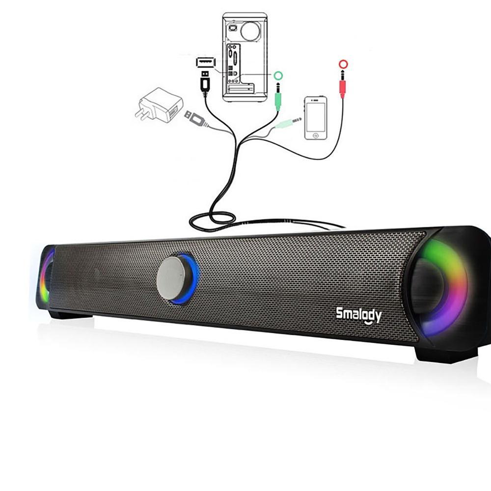 9014BL кабель питания USB мультимедийный динамик HIFI сабвуфер звук тиран стерео компьютерный динамик с светодиодный цветной стерео