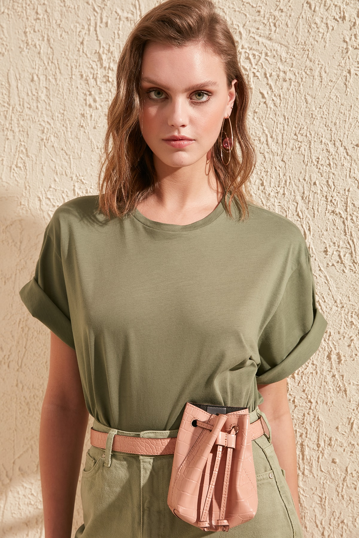 Trendyol 100 Cotton Single Jersey Bike Collar Boyfriend Knitted T-Shirt TWOSS20TS0134