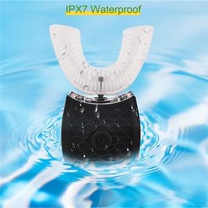 Image 3 - אלחוטי חשמלי מברשת שיניים אוטומטי אולטרסאונד גל מברשת שיניים עמיד למים מזון כיתה סיליקון U בצורת מברשת שיניים יוניסקס 0