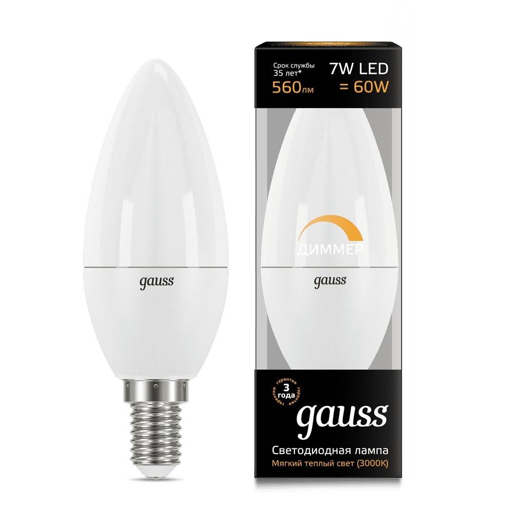 Лампа светодиодная Gauss LED Candle dim E14 7W 3000К диммируемая 1/10/100 103101107 D Светодиодные лампы и трубки      АлиЭкспресс
