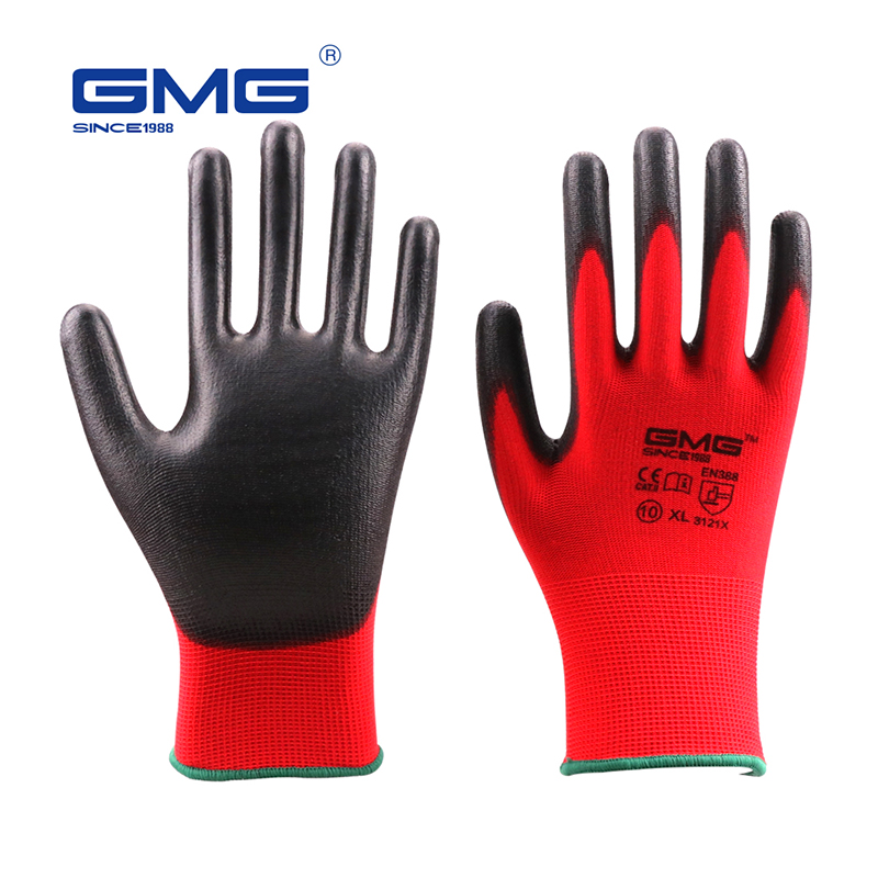 Safety-Gloves Mechanic EN388 Ce-Certificated Pu-Work GMG Polyester Black Red Hot-Sale