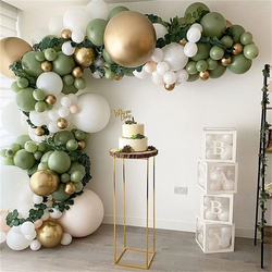 152Pcs Avocado Green Balloons Garland Arch Kit Retro Green Chorme Gold Latex Globos Birthday Valentine Wedding Party Decors 2021