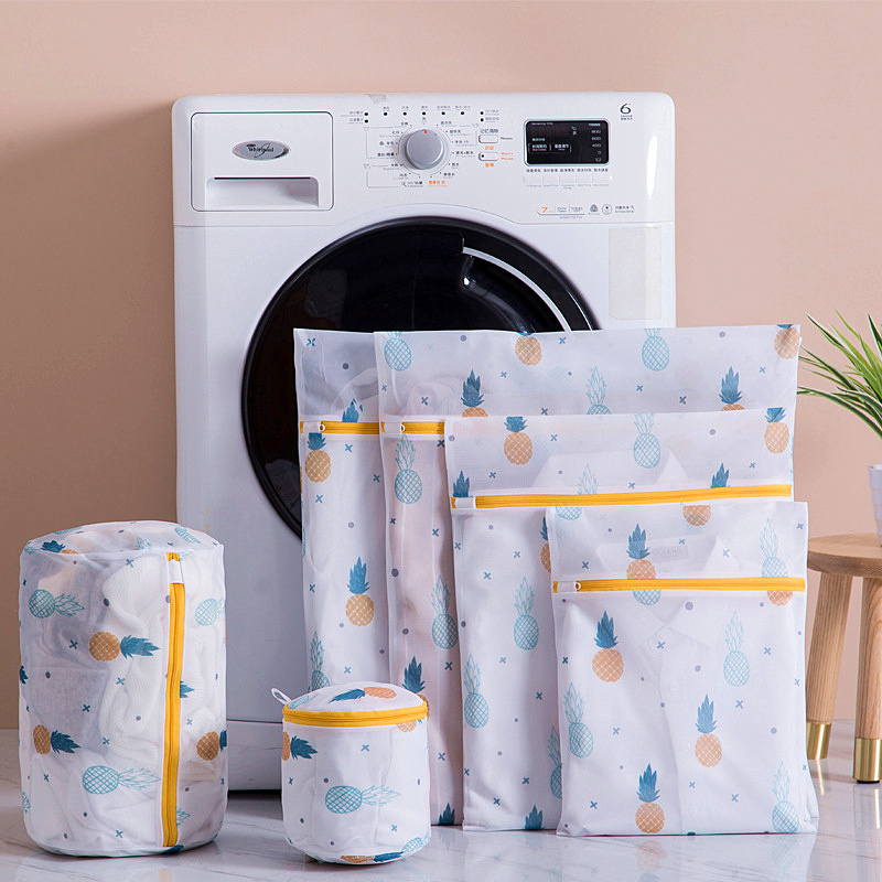 Pineapple Printing Laundry Bag With Zipper Cover Design For Dirty Clothes
