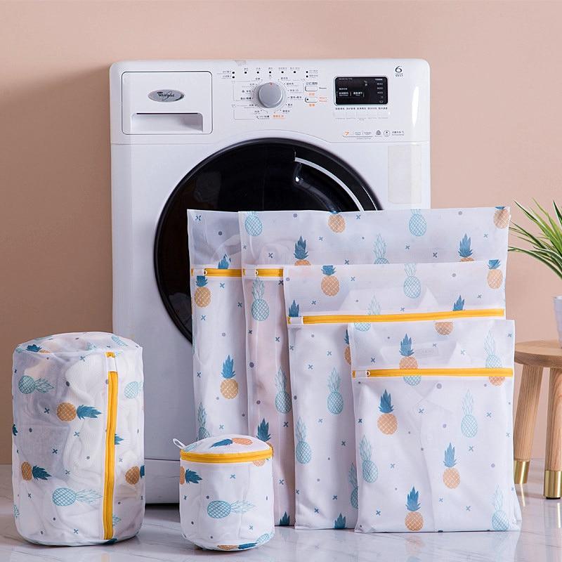Сумка для белья с принтом ананаса на молнии, Сетчатая Сумка для белья из полиэстера, сумка для белья, носки, сумка для стиральной машины, сумк...