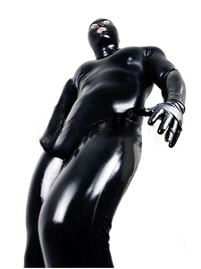 Image 3 - LinMe Unisex Footed Unitard Faux Leather PVC Shiny Clubwear Hook Mask Catsuit Full Coverage Wetlook Plus Size Halloween Costumes