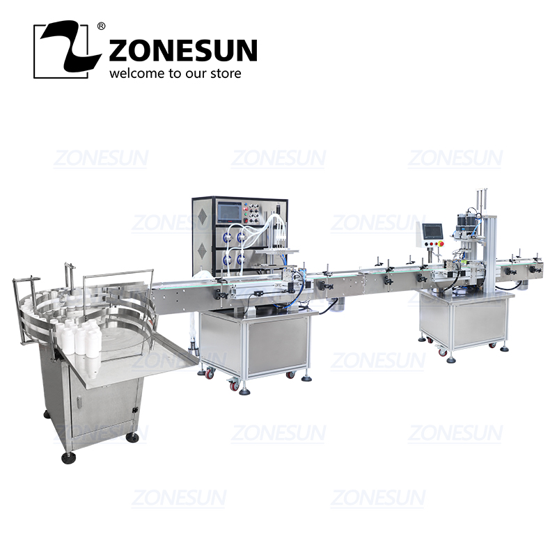 ZONESUN Production Line For Juice Milk Small Automatic Bottle Alcohol Ethanol Turntable Capping Filling Machine