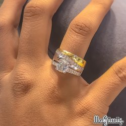 New Gold Model Engagement Wedding Ring 925 Sterling Silver Ring