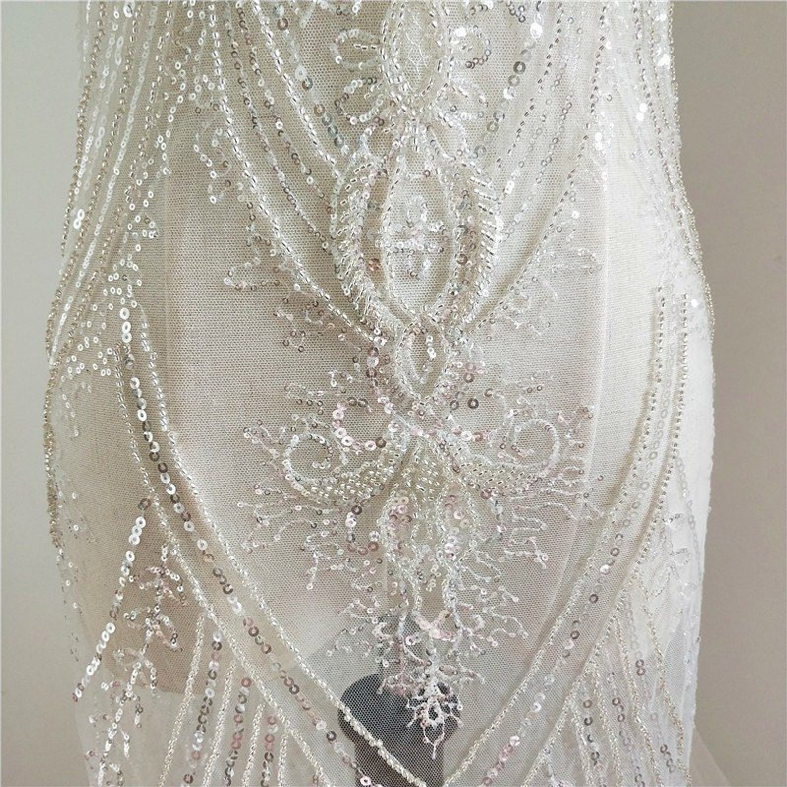 top quality lace fabric bridal wedding lace elegant fine tulle lace with double Ivory cotton embroidered edges half yard on sale