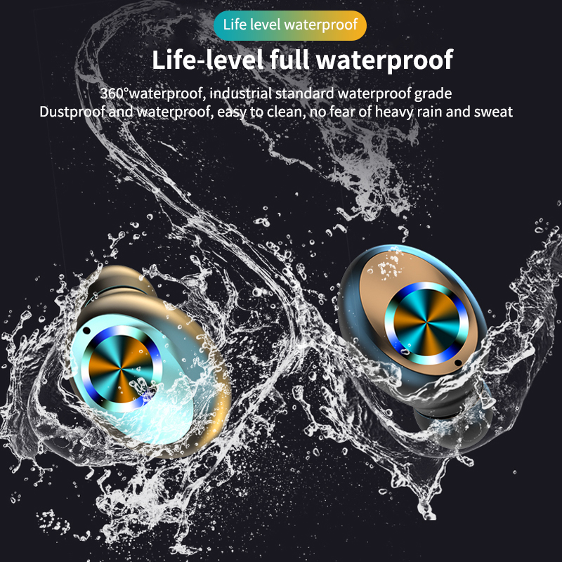2000MAH Bluetooth Earphone 3 LED Display with Microphone  Sports Waterproof TWS Earphones Touch Control Headset  for All  Phone