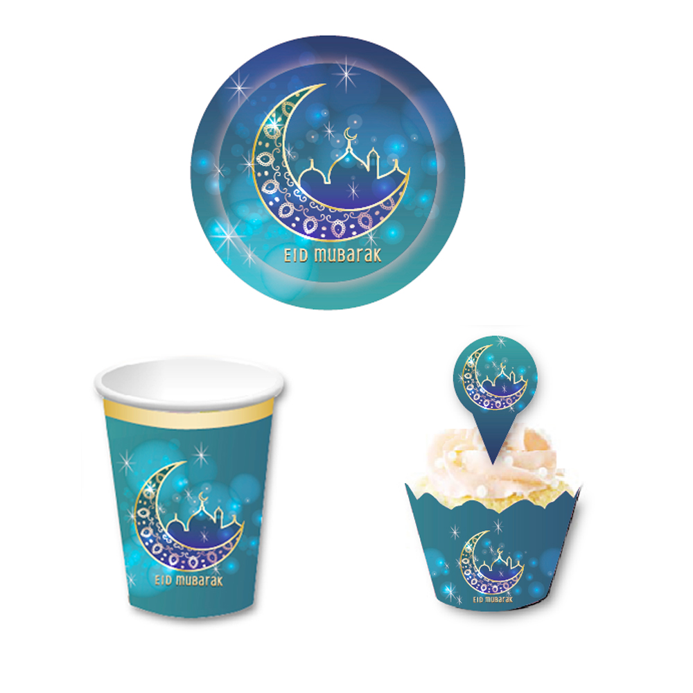 Ramadan Party Kit Eid Mubarak Paper Plates Cups Ramadan Cupcake Wrappers Disposable Paper Plates Party Supplies