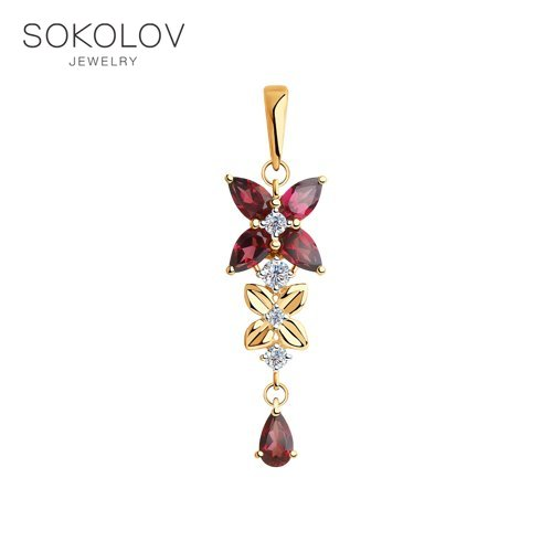 Pendant SOKOLOV Gold Rhodolite And Cubic Zirkonia Fashion Jewelry 585 Women's Male