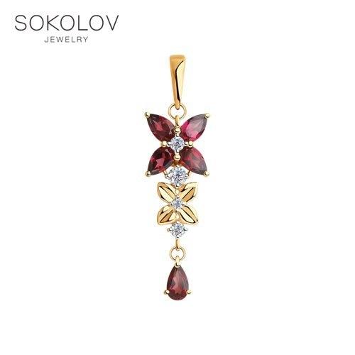 Pendant SOKOLOV Gold Rhodolite And Cubic Zirkonia Fashion Jewelry 585 Women's Male
