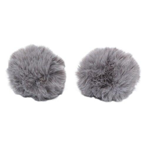 Pompon Made Of Artificial Fur (rabbit), D-8cm, 2 Pcs/pack (H Mouse)