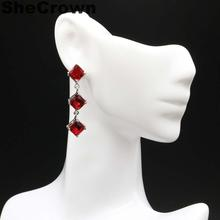 38x7mm Multi Color Created Red Blood Ruby Gift For Mother European and American models Silver Earrings
