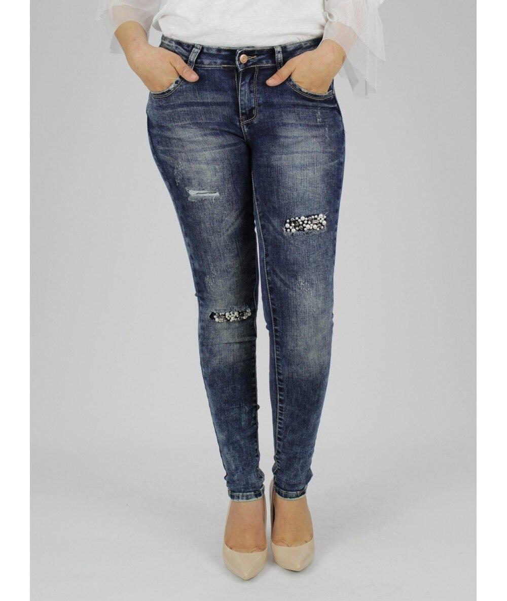 COWBOY WITH DETAIL PEARLS Fashion Women Pants Color Blue Women's Clothing Woman Pants Trousers Femme Pants Woman Vogue