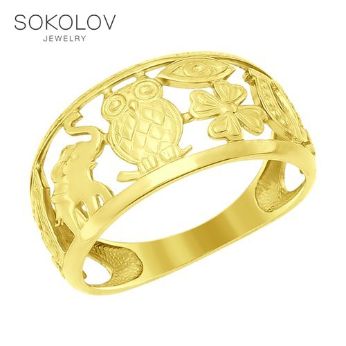 SOKOLOV Ring Yellow Gold Fashion Jewelry Gold 585 Women's Male
