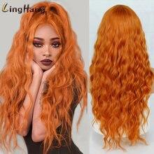 Длинный волнистый парик ling hang средней естественной высокой